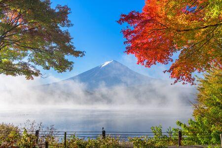 momiji: Mt. Fuji, Japan from Kawaguchi Lake in the autumn season.