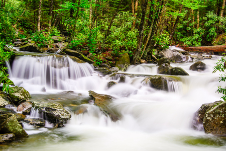 smoky mountains: cascades in the Smoky Mountains of Tennessee, USA. Stock Photo