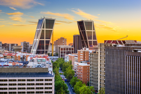 Madrid, Spain financial district skyline at twilight Stock Photo
