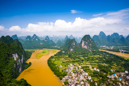 Karst Mountain landscape on the Li River in rural Guilin, Guangxi, China. Stock Photo