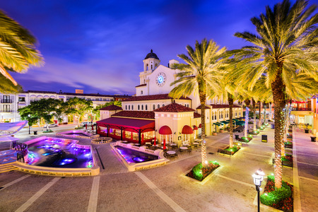 West Palm Beach, Florida, USA cityscape and plaza. Stock Photo