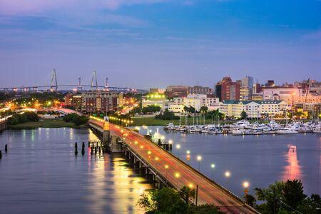 in charleston: Charleston, South Carolina, USA skyline over the Ashley River.