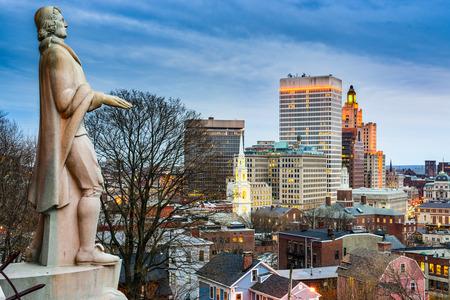 city park skyline: Providence, Rhode Island city skyline from Prospect Terrace Park.