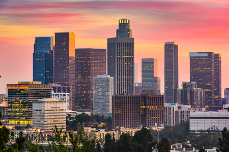 Los Angeles, California, USA downtown skyline. Imagens