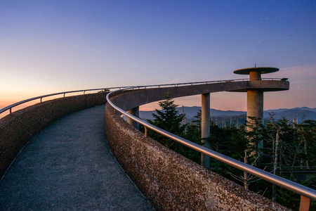 smoky mountains: The observation deck of Clingmans Dome in the Great Smoky Mountains. Stock Photo