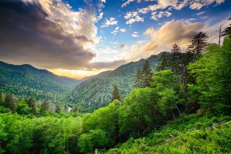 Sonnenuntergang am neu entdeckten Abstand in den Great Smoky Mountains.