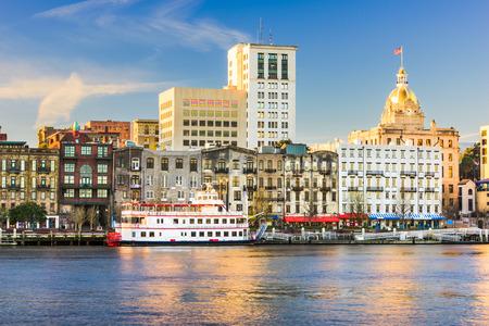 riverfront: Savannah, Georgia, USA riverfront skyline.