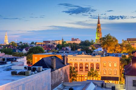 church steeple: Charleston, South Carolina, USA town skyline. Stock Photo