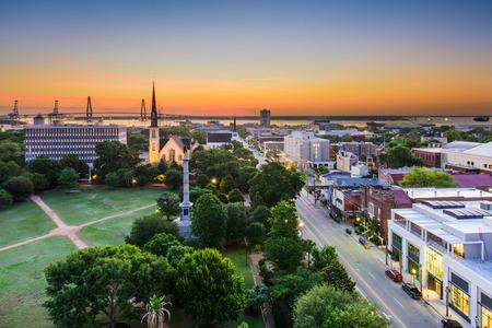 charleston: Charleston, South Carolina, USA skyline over Marion Square. Stock Photo