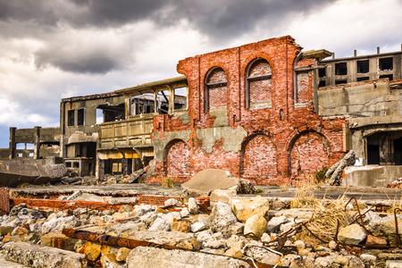 Abandoned island of Gunkanjima, Nagasaki, Japan.