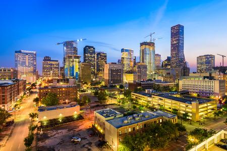aerial view: Houston, Texas, USA downtown city skyline at twilight. Stock Photo