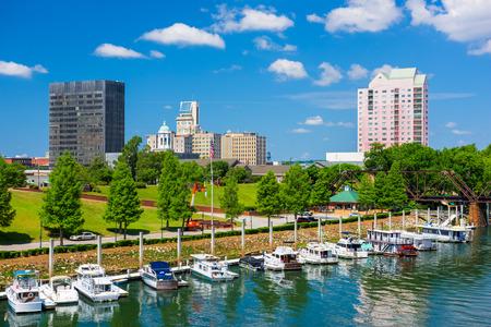 Augusta, Georgia, USA panoramę śródmieścia na rzece Savannah.