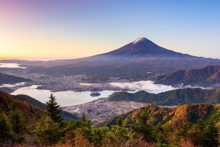 kawaguchi: Mt. Fuji, Japan over lake Kawaguchi.