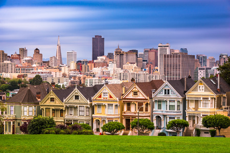 San Francisco, California cityscape at Alamo Square.