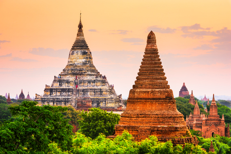 Bagan, Myanmar temples in the Archaeological Park. Stock Photo