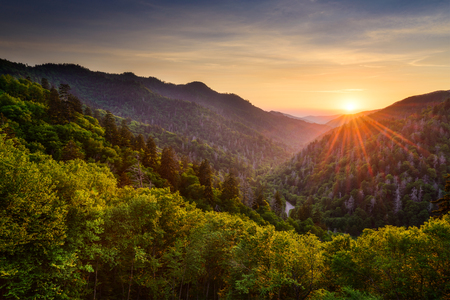 Sunset at the Newfound Gap in the Great Smoky Mountains. 스톡 콘텐츠