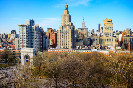 Washington Square Park and Greenwich Village Cityscape in New York City.