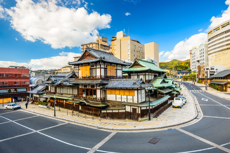 Matsuyama, Japan downtown at the traditional hot springs bathhouse.