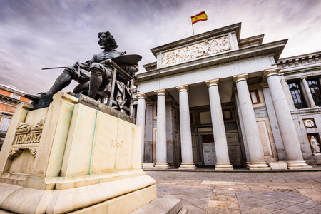 velazquez: MADRID, SPAIN - NOVEMBER 18, 2014: The Prado Museum facade. Established in 1819, the museum is considered the best collection of Spanish art and one of the worlds finest collections of European art.