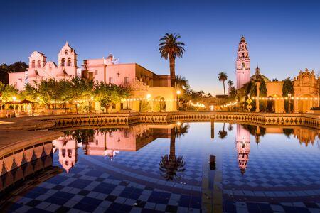 SAN DIEGO, CALIFORNIA - FEBRUARY 25, 2016: Plaza de Panama in Balboa Park at night.