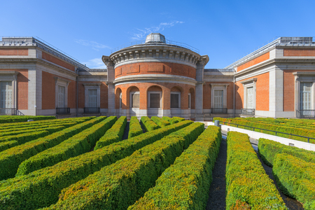del: MADRID, SPAIN - NOVEMBER 18, 2014: The Prado Museum rear garden. Established in 1819, the museum is considered the best collection of Spanish art and one of the worlds finest collections of European art.