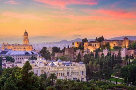 Malaga, Spanje oude stad skyline. Stockfoto