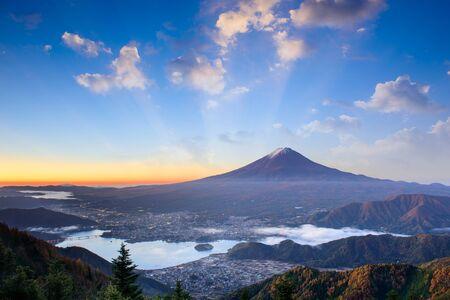 tokyo prefecture: Mt. Fuji, Japan over lake Kawaguchi on an autumn morning. Stock Photo