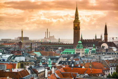 Copenhagen, Denmark old city skyline.