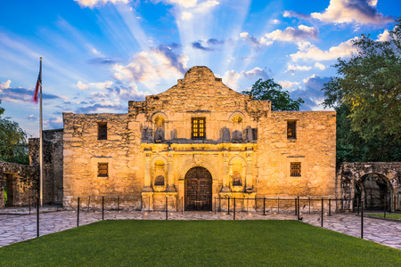 The Alamo in San Antonio, Texas, USA. Фото со стока