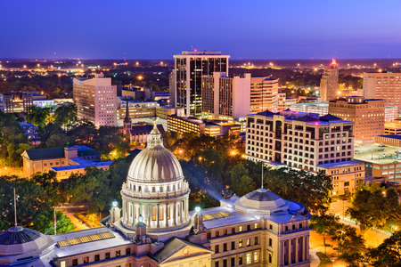 Jackson, Mississippi, USA skyline over the Capitol Building. Stock Photo