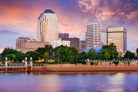 district: Shreveport, Louisiana, USA downtown skyline on the Red River. Stock Photo