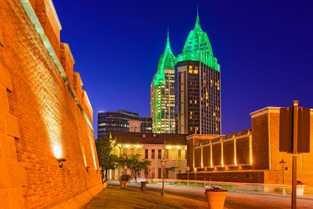 conde: Mobile, Alabama, USA skyline with historic Fort Conde. Stock Photo