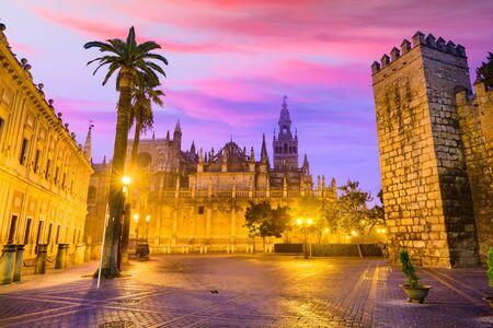 bric: Seville, Spain historic cityscape in Plaza de Triunfo. Editorial