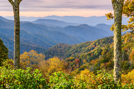 smoky: Smoky Mountains National Park, Tennessee, USA autumn landscape at Newfound Gap. Stock Photo