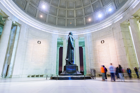jefferson: WASHINGTON DC - APRIL 7, 2015: The bronze statue inside the Jefferson Memorial. Thomas Jefferson was a founding father of the United States and served as the third President. Editorial
