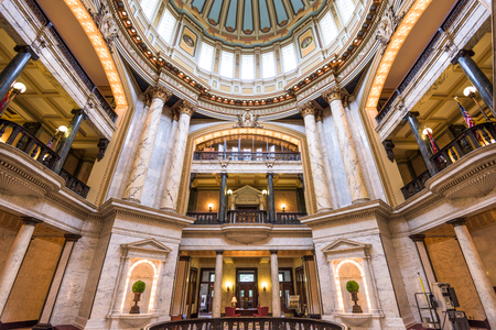 JACKSON, MISSISSIPPI - MAY 25, 2016: The main hall in the Mississippi State Capitol. The building has been the home of Mississippis state legislature since 1903. Editorial