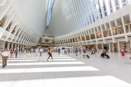 NEW YORK CITY, USA - AUGUSAT 28, 2016: Westfield World Trade Center Mall in Lower Manhattan.