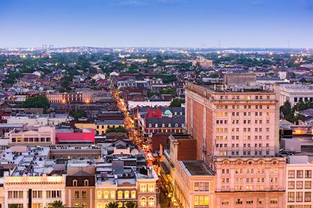 뉴 올리언스, 루이지애나, 미국 부르봉 왕가 거리 공중보기입니다.