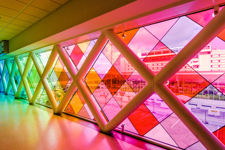 MIAMI, FLORIDA - JULY 9, 2016: Colorful glass at Miami International Airport. Editorial