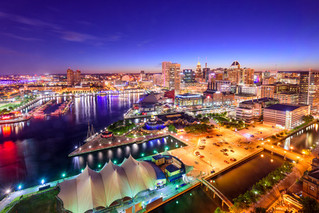 Baltimore, Maryland, USA downtown skyline at twilight.