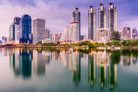 high rises: Bangkok, Thailand skyline from Benjakiti Park. Stock Photo