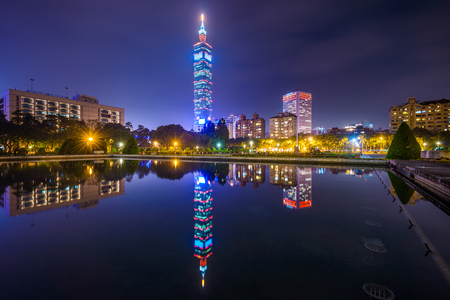Taipei, Taiwan cityscape and reflection.