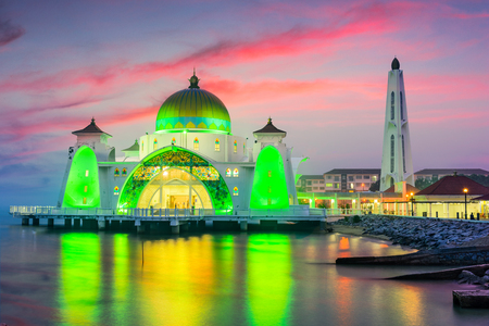 Malacca Straits Mosque in Malacca, Malaysia.