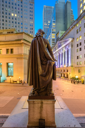 New York City cityscape at Wall Street from Federal Hall. Stock Photo