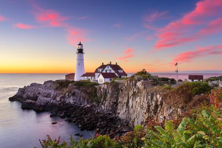Het HoofdLicht van Portland in Kaap Elizabeth, Maine, de VS