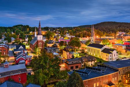 Montpelier, Vermont, USA town skyline at twilight.