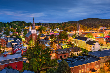 historic architecture: Montpelier, Vermont, USA town skyline at twilight.