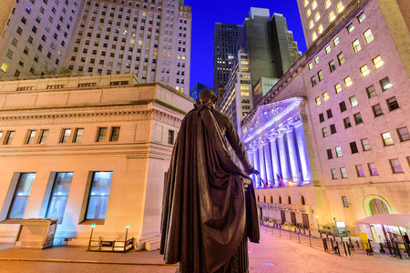 federal hall: New York City cityscape at Wall Street from Federal Hall. Stock Photo