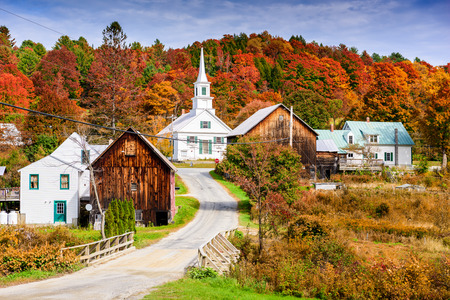 Rural Vermont, USA autumn foliage. Stock Photo