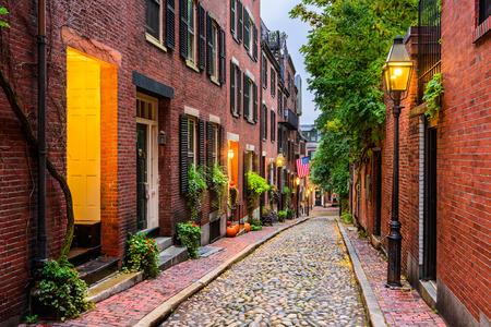 Acorn Street in Boston, Massachusetts, USA. 写真素材